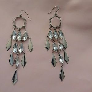 "Silver Tone ""Chandelier"" Earrings w/ Clear Stones"